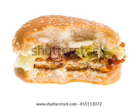 bitten burger isolated on white background