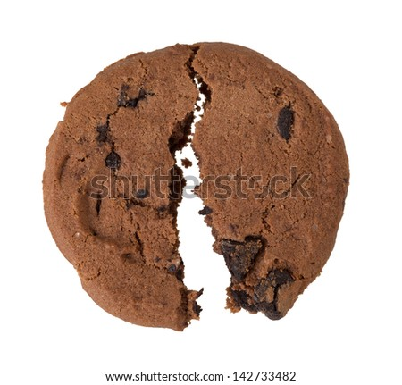 bitten cookie isolated on white background - stock photo
