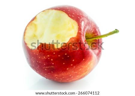 Bitten fresh red apple (Car shape) - stock photo
