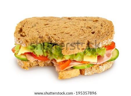 Bitten fresh sandwich (whole grain bread) on white background. Clipping path included - stock photo