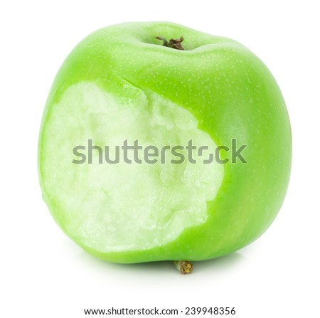 bitten green apple isolated on the white background - stock photo