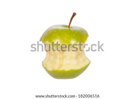 bitten green apple isolated on white - stock photo