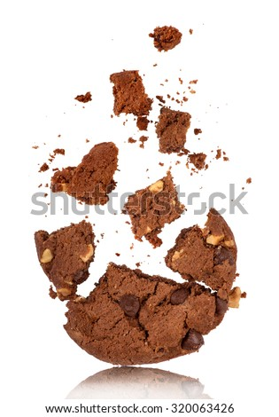 bitten into chocolate chip cookie with crumbs on white - stock photo