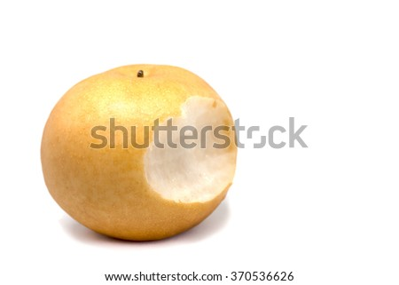 Bitten juicy ripe pear on white background - stock photo