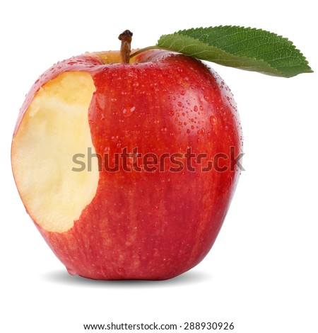 Bitten red apple fruit missing bite isolated on a white background - stock photo
