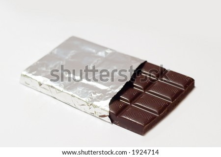 bitter chocolate in a foil bars isolated on white - stock photo