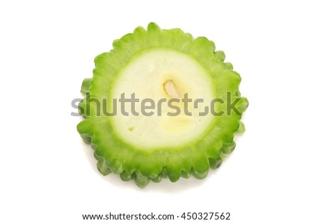 bitter gourd isolated on white background. - stock photo