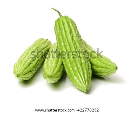 Bitter melon isolated on white background - stock photo