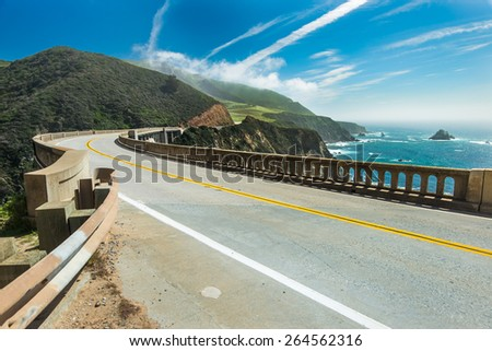 Bixby Bridge is one of beautiful and famous arch bridge in California coast.