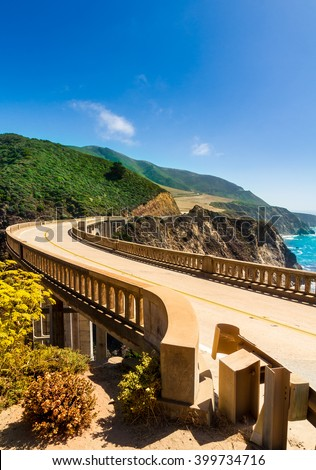 Bixby Creek Bridge on Highway #1 at the US West Coast traveling south to Los Angeles - Portrait Format - stock photo
