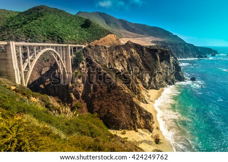 Bixby Creek Bridge on Pacific Coast Highway #1 at the US West Coast traveling south to Los Angeles, Big Sur Area, California - stock photo