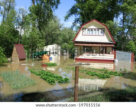 BIYSK, ALTAI KRAI-JUNE 1: Flood water on the streets on June 01.2014 in Biysk, Altai krai. The city declared a state of emergency as floods tore into the city.