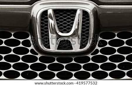 "BIYSK, RUSSIA - SEPTEMBER 10,2013 : Logo of the brand ""Honda"" on car"