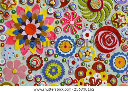 bizarre flowers background, zentangle like decorative circular floral elements