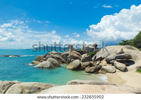 Bizarre rock (hin ta hin yai) famous landmark of Koh Samui, Thailand - stock photo