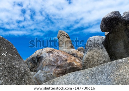 Bizarre Rock (Hin Ta Rock) on blue sky with could, Samui Island , Surat thani ,Thailand - stock photo