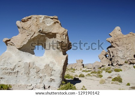 Bizarre rocks in Altiplano, Bolivia. - stock photo