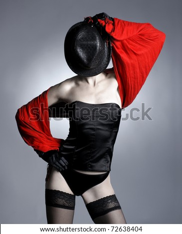 Bizarre shoot of sexy lady in lingerie - stock photo