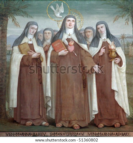 Bl. Anne of Jesus, Saint Teresa of Avila and Bl. Anne of St. Bartholomew, Saints, The Church Stella Maris, Haifa, Israel - stock photo