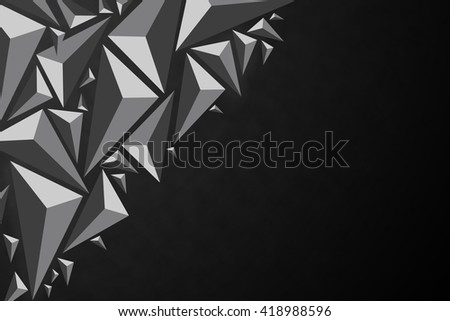Black abstract 3d geometric triangular polygon style illustration graphic background with copyspace - stock photo