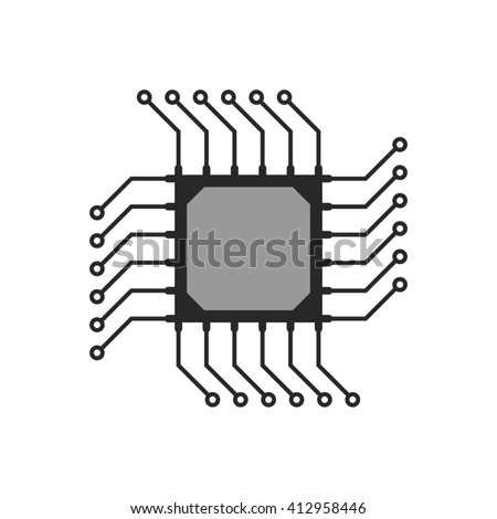 black abstract microchip circuit icon. concept of computing, technical equipment, chipset logic, circuitry. isolated on white background. flat style trend modern logo design illustration - stock photo