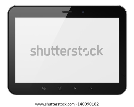 Black abstract tablet computer (tablet pc) on white background, 3d render. Modern portable touch pad device with white screen. Extra-high real resolution. - stock photo
