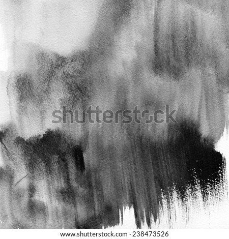 Black abstract watercolor macro texture background. Abstract aquarelle texture grayscale backdrop. Handmade technique.  - stock photo