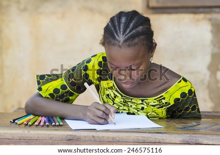 Black African Ethnicity Student Writing Symbol Background Concept in Mali - stock photo