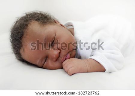 Black african newborn baby - stock photo