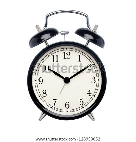 Black alarm clock isolated on white - stock photo