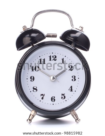 Black alarm clock isolated on white background - stock photo
