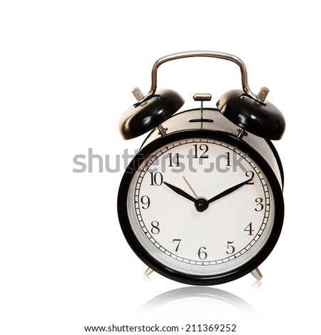 Black alarm clock isolated on white background, cliping path.