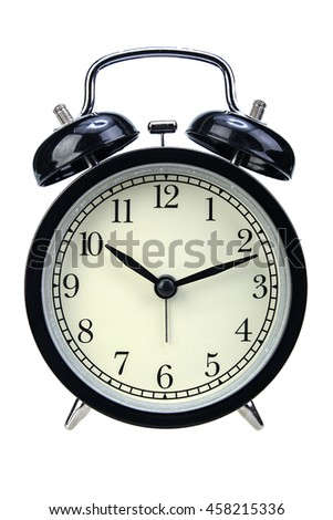 Black alarm clock isolated on white background with clipping path