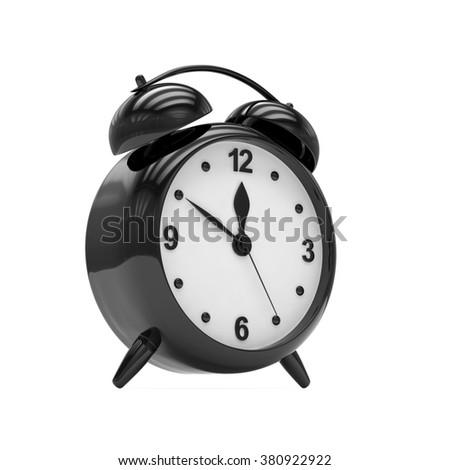 Black alarm clock on white - stock photo