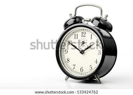 Black Alarm clock on white background