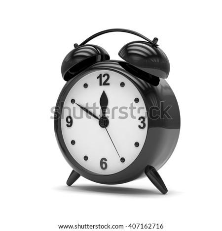 Black alarm clock on white. 3d rendering. - stock photo