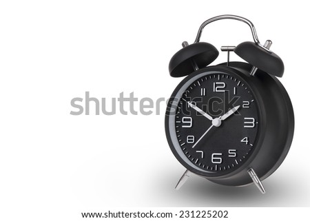 Black alarm clock with the hands at 10 and 2 am or pm isolated on a white background - stock photo