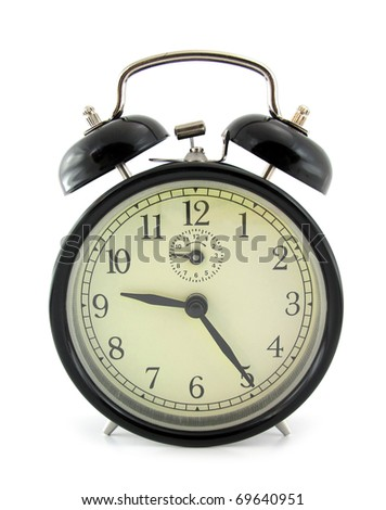 Black alarm clock with two bells - stock photo