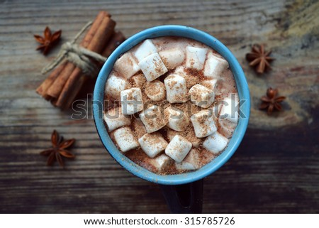 Black and blue cup of hot cocoa with marshmallows, star anise and cinnamon - stock photo