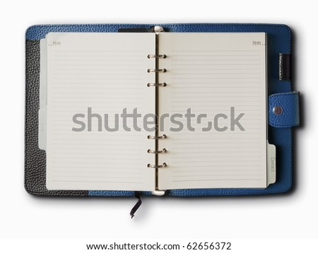Black and Blue leather cover of binder notebook - stock photo