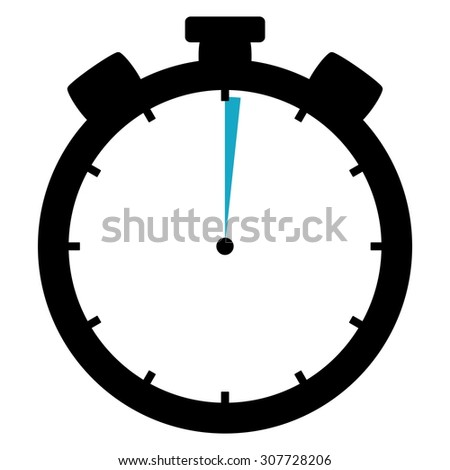Black and blue Stopwatch icon showing 1 second or 1 minute  - stock photo