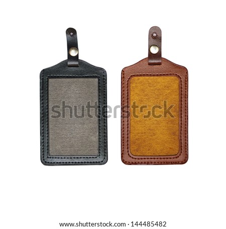 Black and brown identification card with metallic button