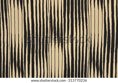 Black and brown with white striped background. Asymmetric vertical stripes pattern on fabric. - stock photo