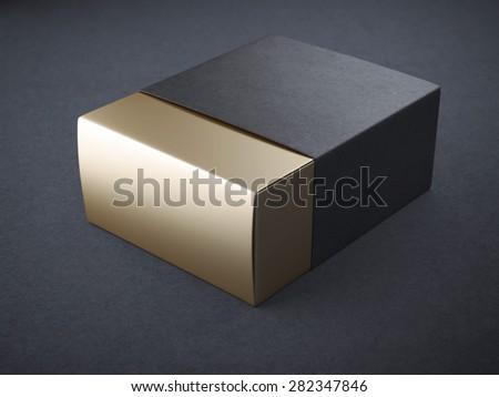 Black and gold box - stock photo
