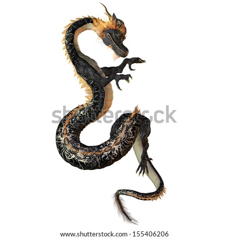 Black and Gold Dragon - A creature of myth and fantasy the dragon is a fierce monster with horns and large teeth.