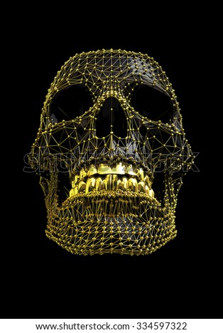 Black and Gold Low Polygon Skull - isolated with work path  - stock photo