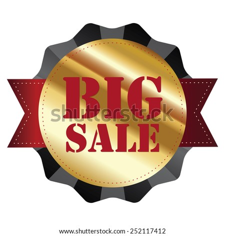 black and gold metallic big sale sticker, badge, icon, label isolated on white - stock photo