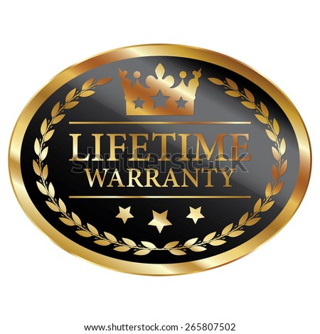 Black and Gold Metallic Oval Shape Lifetime Warranty Label, Sticker, Banner, Sign or Icon Isolated on White Background - stock photo