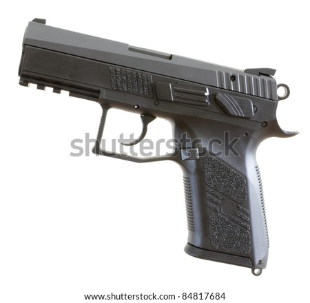Black and gray semi auto handgun that is isolated on white