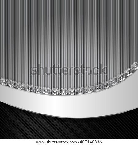 Black and gray striped background with wavy copy space. - stock photo